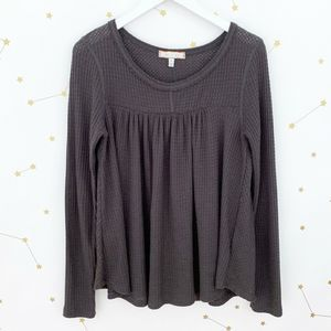 Anthro • Gray Waffle Knit Swing Nicole Thermal Top